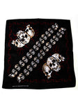 Triple Large Skulls Black Cotton Bandana - Trent - Dr Faust