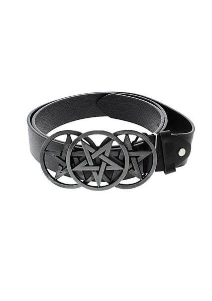 Triple Pentagram Buckle Black Vegan Leather Belt - Remy - Dr Faust