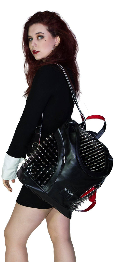 Uber Spiked Black Vegan Leather Backpack - Blakely - Dr Faust