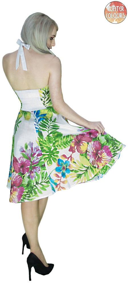 Exotic Birds and Flowers White Midi Dress - Ulani - Dr Faust