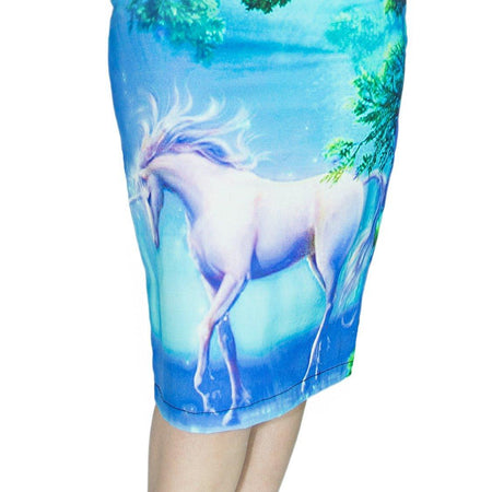 Unicorn in an Enchanted Forest Midi Dress - Inorog - Dr Faust