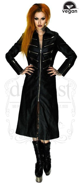 Vegan Leather Alternative Long Black Coat - Bellona