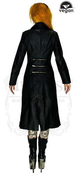 Vegan Leather Alternative Long Black Coat - Bellona - Dr Faust