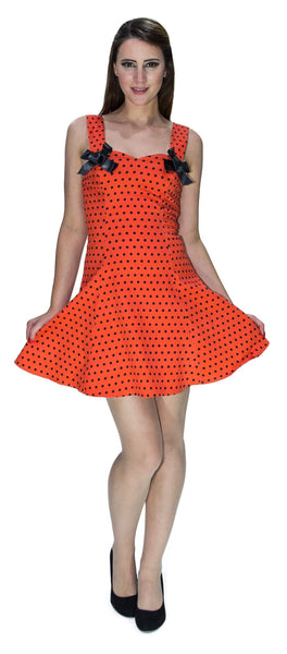 Orange Black Polka Dot Mini Dress - Vera - Dr Faust