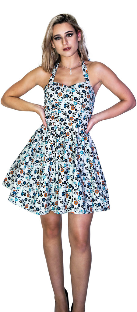 Vintage Flowers Rockabilly White Mini Dress - Sandra - Dr Faust