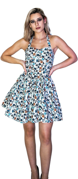 Vintage Flowers Rockabilly White Mini Dress - Sandra