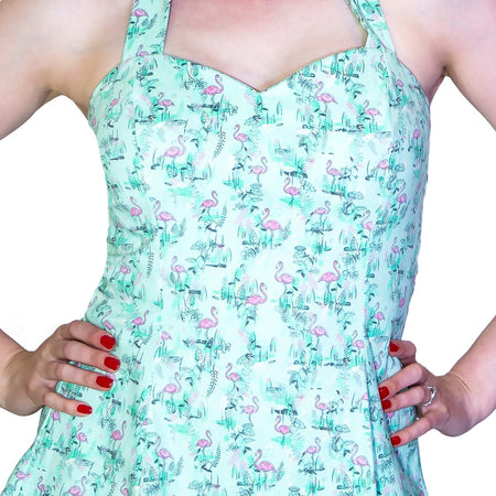Vintage Petite Pink Flamingo Light Blue Mini Dress - Liana - Dr Faust