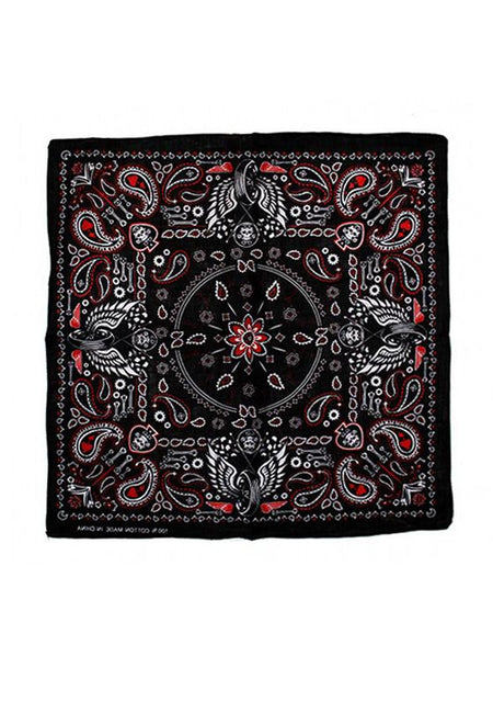 Vintage Skulls and Wings Black Cotton Bandana - Keanu - Dr Faust