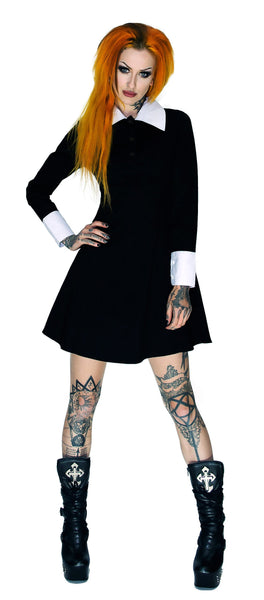 Long Sleeve Wednesday Addams Black Mini Dress - Megan - Dr Faust
