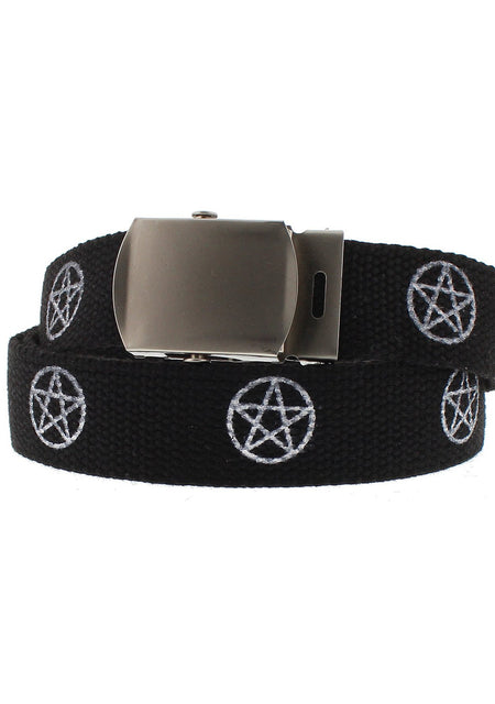 White Pentagram Black Canvas Webbing Belt - Ezra - Dr Faust