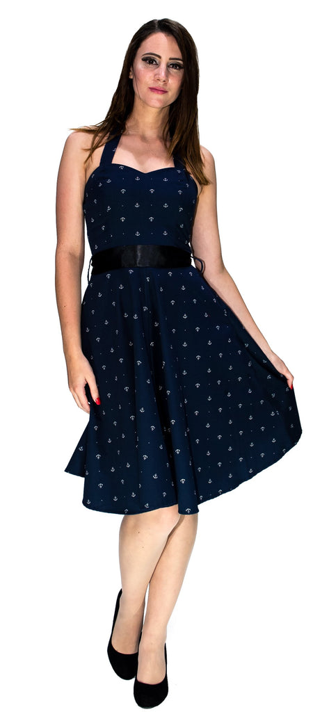 White Anchors Nautical Navy Midi Dress - Gabriella - Dr Faust