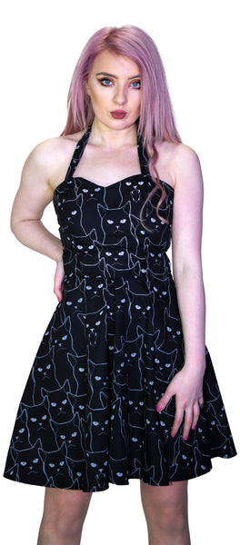 White Evil Cats Black Mini Dress - Katz