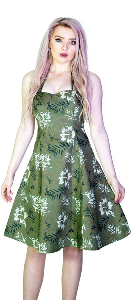 White and Bronze Flowers Green Retro Midi Dress - Laurie - Dr Faust