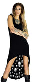 White Inner Skulls Nu Goth Black High-Low Dress - Raven