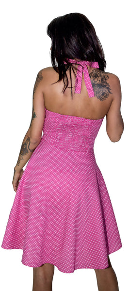 White Polka Dot Bubblegum Pink Vintage Midi Dress - Thalia - Dr Faust