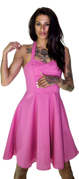 White Polka Dot Bubblegum Pink Vintage Midi Dress - Thalia
