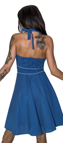 White Polka Dot Cornflower Blue Retro Midi Dress - Sophie - Dr Faust