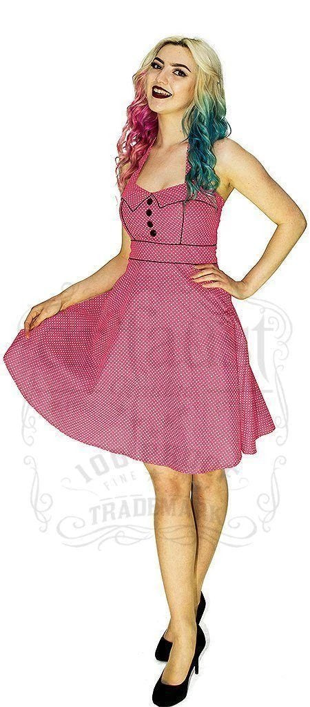 White Polka Dot Powder Pink Vintage Midi Dress - Sophie - Dr Faust