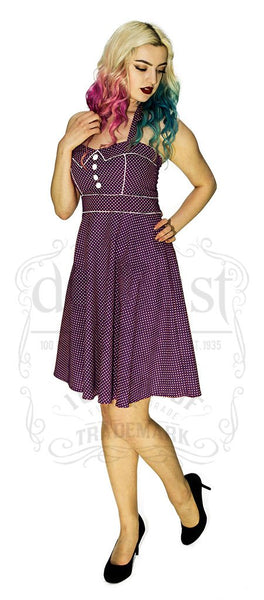 White Polka Dot Royal Purple Vintage Midi Dress - Sophie - Dr Faust
