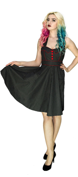 White Polka Dot Space Black Rockabilly Midi Dress - Sophie - Dr Faust