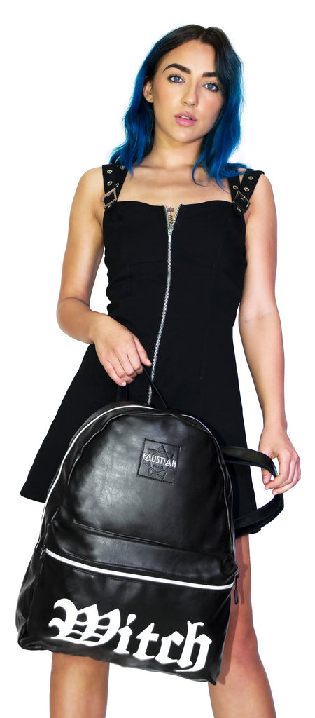 Witch Vegan Leather Black Backpack - Medusa - Dr Faust