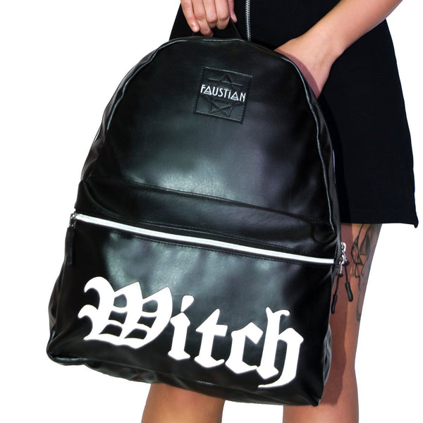 Witch Vegan Leather Black Backpack - Medusa