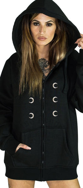 Silver Moon Buttons Nu Goth Women's Black Hoodie - Ximena - Dr Faust