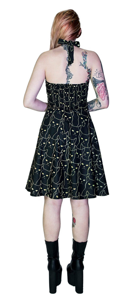 Yellow Evil Cats Black Midi Dress - Katz - Dr Faust