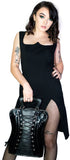 Corset Black Vegan Leather Hand Bag - Burlesque - Dr Faust