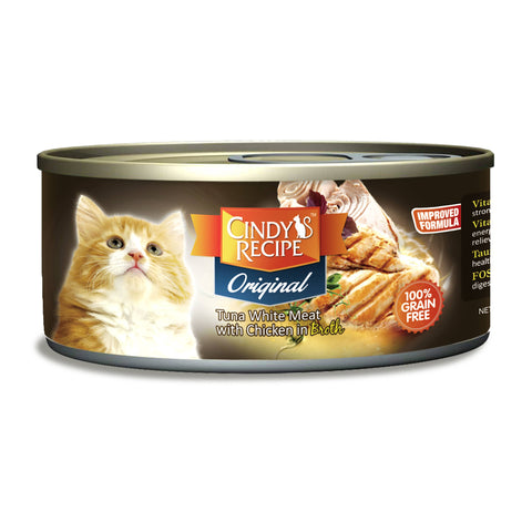 Cindy Original Tuna White Meat With Chicken Broth Cat Wet Food (4 Sizes)