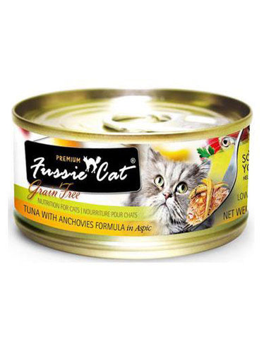 Fussie Cat Premium Tuna With Anchovies Canned Cat Food ( 80g ) | Perromart Online Pet Store Malaysia