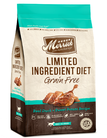 Merrick Grain Free Limited Ingredient Diet - Real Duck & Sweet Potato Recipe (2 sizes)