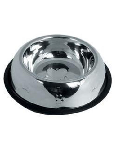 Tulip Stainless Steel Pet Bowl Side Embossed | Perromart Online Pet Store MY