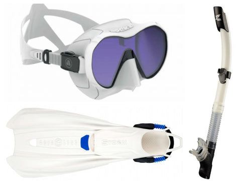 Apeks VX1 UV Mask White Travel Snorkelling Package