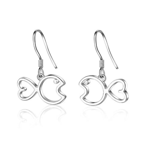 925 Sterling Silver Fish Earrings