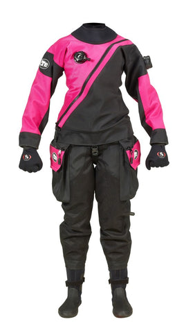 Ursuit One Endurance Ladies Pink Drysuits - Flexible and Durable. Available at Dive Manchester