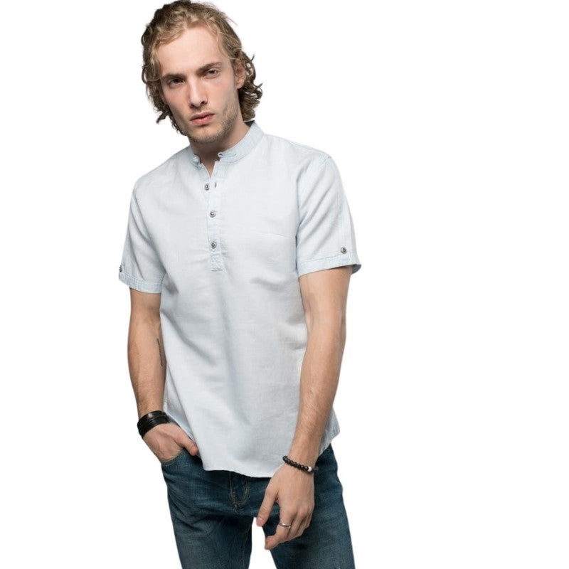 Simple Mandarin Collar Shirt
