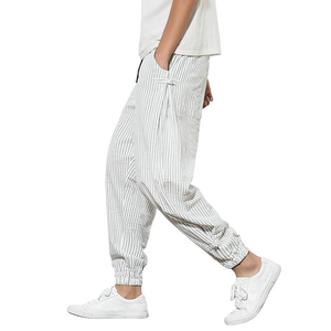 Vertical Stripe Harem Pants