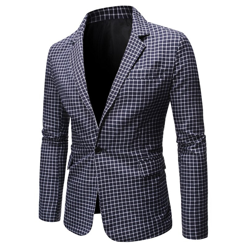 Elegant Plaid Patterned Suit Jacket