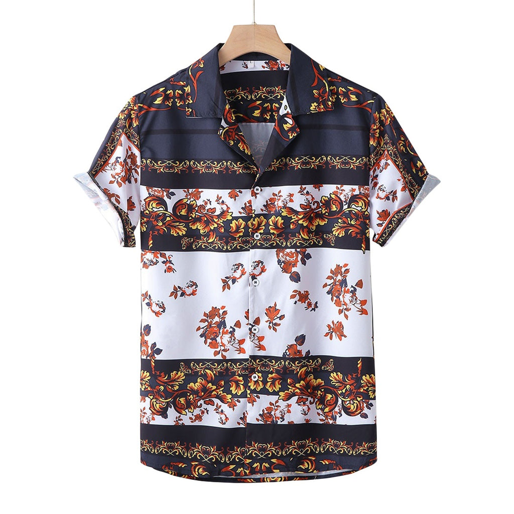 B&W Floral Short Sleeved Shirt