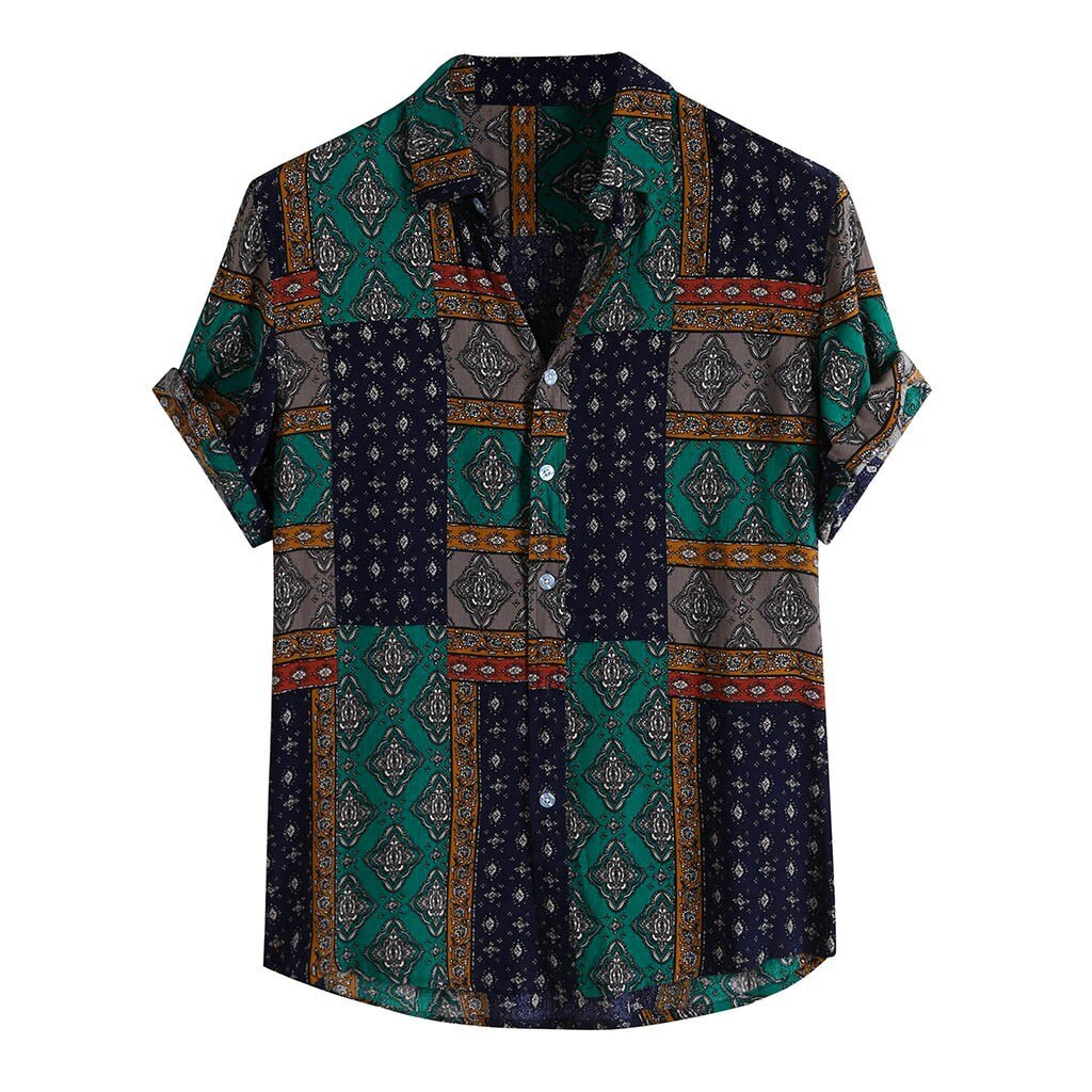 Breathable Patterned Button-Up Shirt