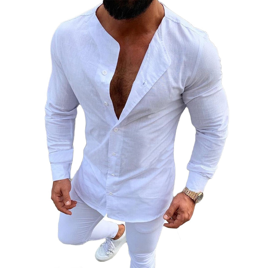 Collarless O-Neck Button-Down Shirt