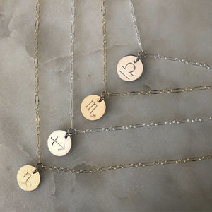zodiac necklace (choose from 12 signs)
