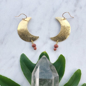 crescent gemstone earrings