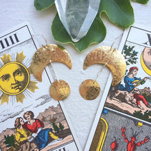 Load image into Gallery viewer, sun + moon earrings