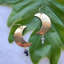 Load image into Gallery viewer, crescent gemstone earrings (choose from 6 gemstones)