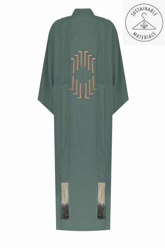 JILDA - SELF GREEN/ART DECO EMBROIDERY