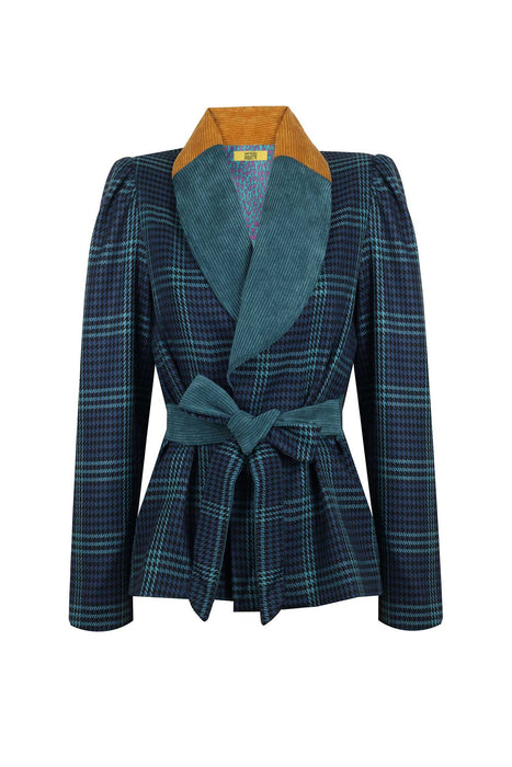 SHAWL COLLAR CHECKERED JACKET