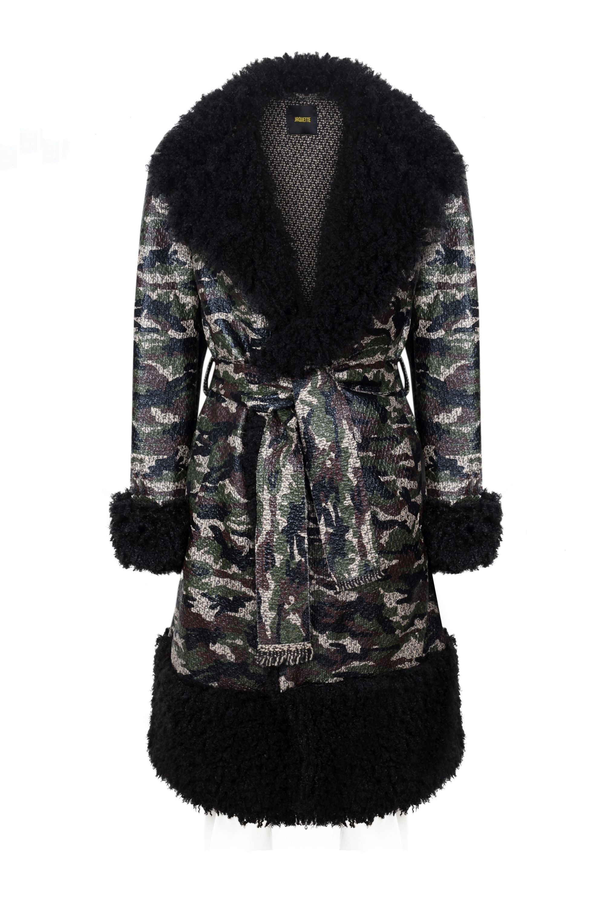 CAMOUFLAGE TRENCHCOAT WITH FUR