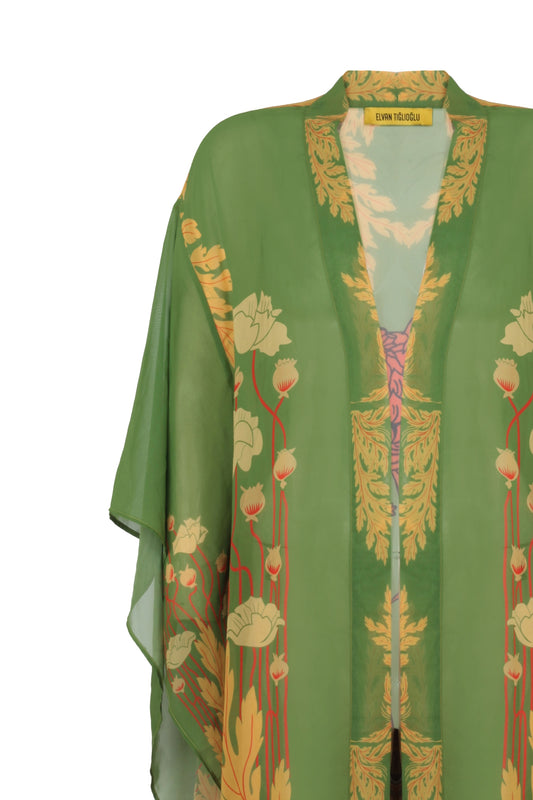 Baggy Sleeve Viscone Long Kimono - Lion the Caesar